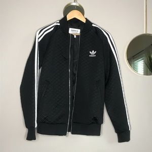 Adidas Stripes Quilted Black Jacket Size Small